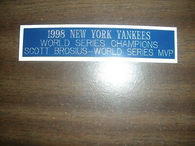 1998 New York Yankees (ws Champions) Engraved Nameplate For Photo/display/poster
