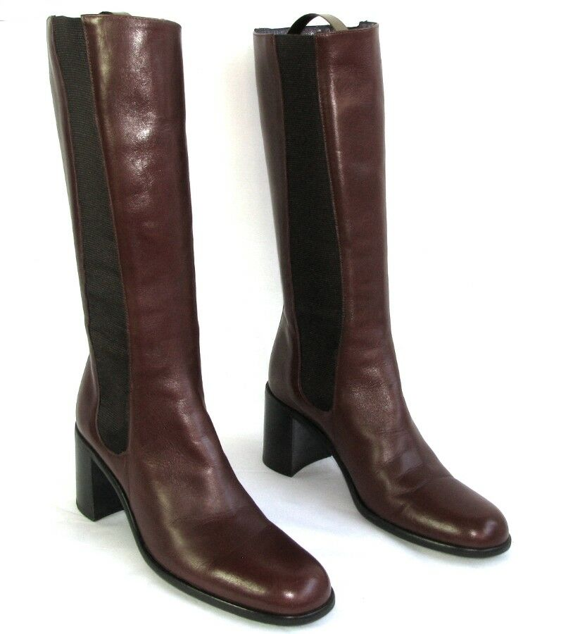 FREE LANCE - Riding boots heels 7 cm leather veal calfskin bordeaux 36 MINT