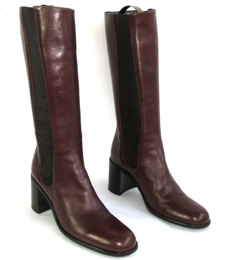 FREE LANCE - botas cavalières talons talons talons 7 cm cuir veau bordeaux 36 EXCELLENT ETAT  Entrega directa y rápida de fábrica