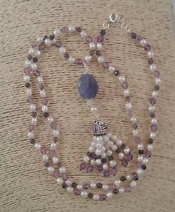 Collana lunga iolite ametista perle di fiume nappa nappina Argento 925