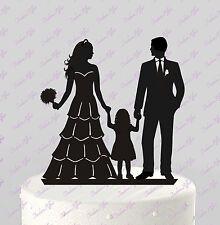Wedding Cake Topper Bride Groom & little Girl; Family Silhouette, Acrylic CT83b
