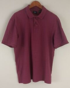 Haggar-Men-039-s-Sz-XL-Cotton-Blend-Maroon-Red-Short-Sleeve-Polo-Shirt-Extra-Button