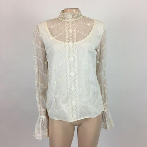 Vintage 50s Tina Leser Womens Blouse White Lace Sh