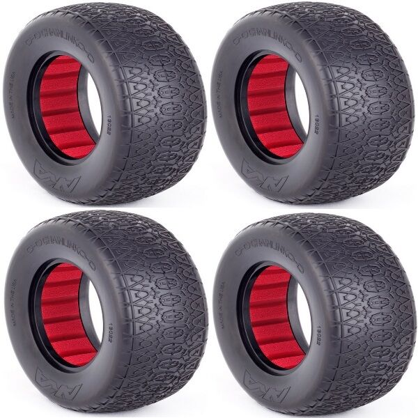AKA Racing 13022VR 1 10 SC Chain Link Wide Tires (SS) w  Red Insert (4) F   R