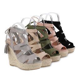 Damen Sandaletten Bast Keilabsatz Espadrilles Wedges 814638 Schuhe