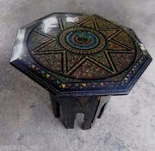 Antique Burmese Octagonal Hand Crafted Multi Coler Lacquer Side Tea Table