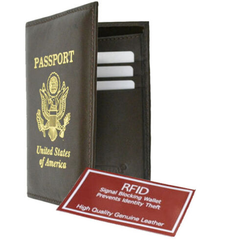 RFID Blocking Premium Leather United States Print Emblem Passport Holder Black