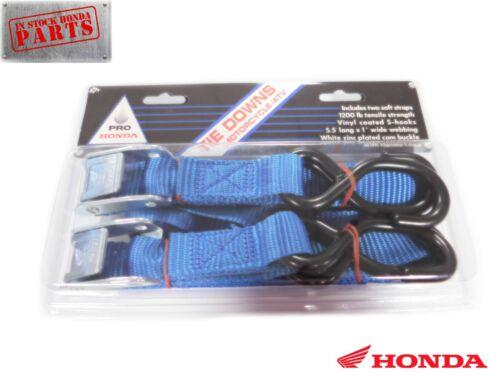 GENUINE HONDA MOTORCYCLE ATV TIE DOWN STRAPS WITH 2 SOFT STRAPS BLUE