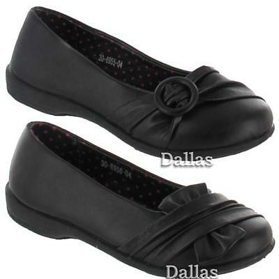 Girls School Shoes New Kids Formal Party Evening Black Fancy Wedge Shoes Size
