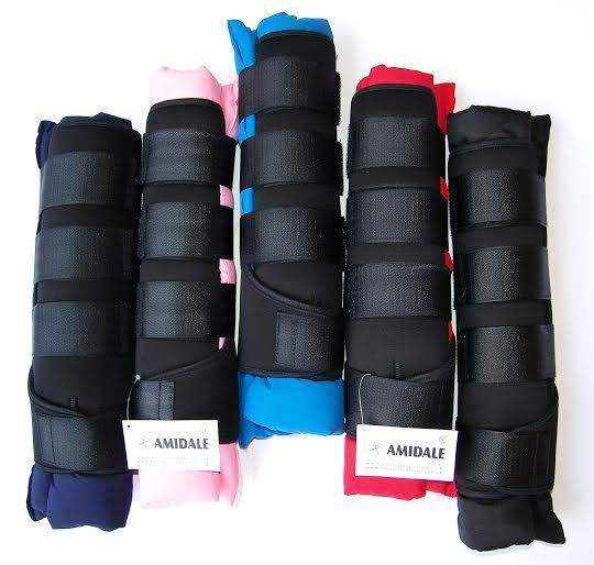 AMIDALE HORSE STABLE BOOTS WRAPS, HORSE TRAVEL BOOTS, 5 COLORS, SET OF 4 BOOTS