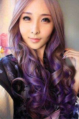 New taro purple Cosplay wig heat harajuku long curly wig