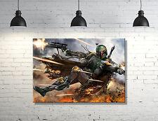 "Star Wars Boba Fett framed Canvas Wall Art  ""GREAT WALL DECOR"""