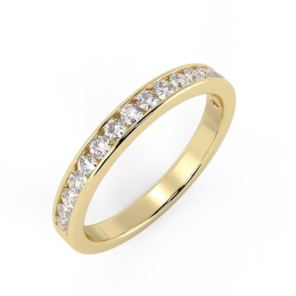 RRP  1 4Ct Round Diamonds Channel Set Half Eternity Ring Yellow gold