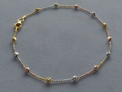 """Italy Sterling Silver .925 /& 14k Gold Ankle Bracelet 9/""""-10/"""" with Silver Bead"""