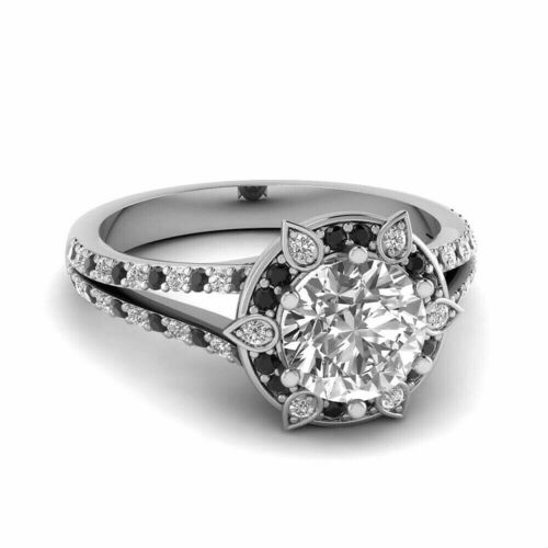 Details about  /2.11CT Black /& White Round Diamond Engagement Promise Ring 14k White Gold Finish