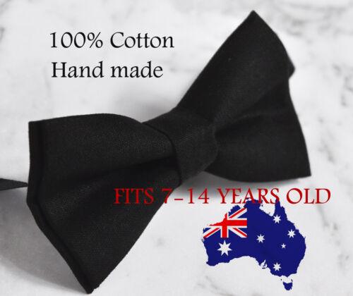 Boy Teenage 100/% Cotton MATTE BLACK Bow Tie Bowtie Party Wedding 7-14 Years Old