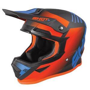 2020 Shot Furious Motorcycle MX Helmet Adult - Trust Black Blue Neon Orange Matt