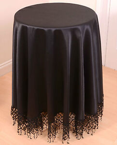 Image Is Loading ROUND MACRAME FRINGED TABLECLOTH IN BLACK 180CM DIAMETER
