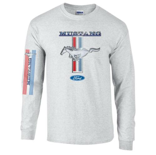 Licensed Ford Mustang Racing Stripes Long Sleeve T-Shirt GT Shelby Pony Tee