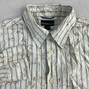Guess-Button-Up-Shirt-Mens-L-Tan-Blue-Brown-Long-Sleeve-Striped-Floral-Casuals