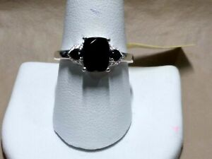 Thai Black Spinel Trilogy Ring in Sterling Silver