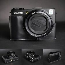 Genuine real Leather Half Camera Case bag cover for Canon G1X Mark II M2 Black