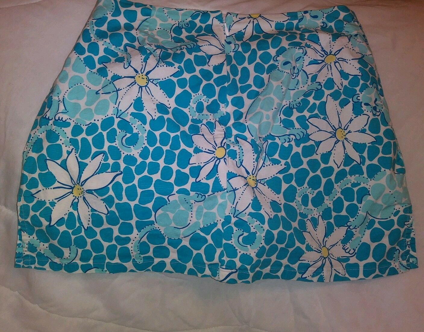 Lilly Pulitzer bluee&White Floral Skirt Lion Sz 6