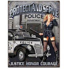 Police Dept. Protect & Serve metal sign 410mm x 320mm (de) REDUCED