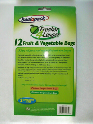 12 Jumbo Fruit and Vegetable Bags Sealapack Fresh Fresher and Longer 2 Sizes