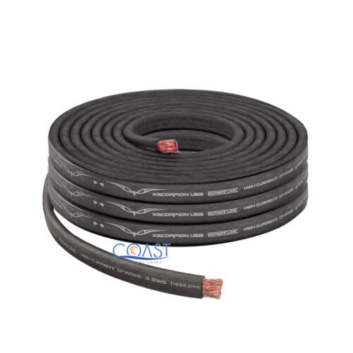25ft OFC Full Copper 1666 Strand Count 4 Gauge Black Flat Power Ground Cable