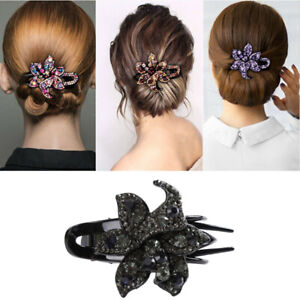 Hairpin-Slide-Pins-Crystal-Grips-Accessories-Flower-Clips-Hair-Comb-Women-039-s