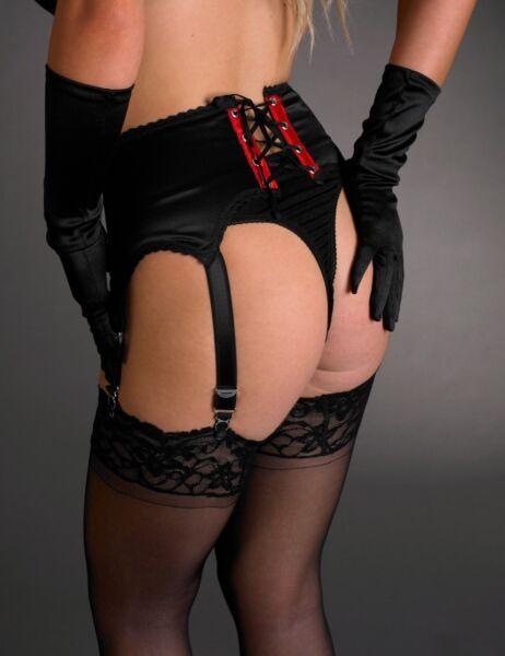 Burlesque 6-Strap Strumpfhalter – von Hand gefertigt, Strumpfgürtel Gr. 1