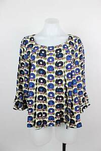 Anna-Sui-100-Silk-Art-to-Wear-Geo-Circle-Bell-Sleeve-Pleated-Top-Size-4