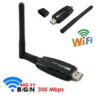 Neu USB WLAN Wireless LAN Stick Dongle Adapter 300Mbit  SMA + Antenne Set