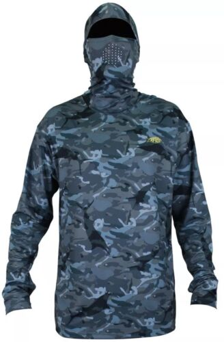 NWT AFTCO Men/'s Fish Ninja 2 Long Sleeve Sun Hoodie Blue Camo