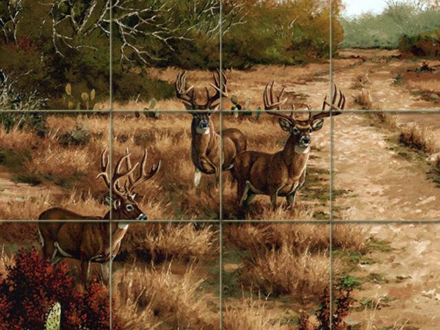 24 x 18 Art Deer Wildlife Mural Ceramic Backsplash Bath Tile #1559