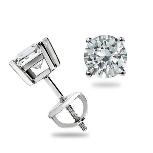 Real 0.50Ct Genuine Certified Diamond Earrings 14K Solid White gold Stud H I VS1