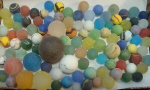 100-Vintage-Glass-Satin-Marbles-Swirls-Cats-Eye-Jewel-Shooters-Brown-Boulder