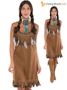 Ladies Red Indian Costume Adults Pocahontas Native ...
