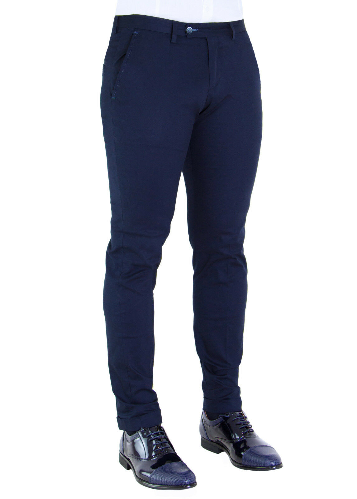 MEN'S TROUSERS TAILORING MADE IN ITALY NAVY blueE CASUAL ELEGANT COTTON STRETCH