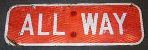 Used-ALL-WAY-Aluminum-Red-Indiana-Street-Highway-Road-Sign-18-X-6-Man-Cave-S443