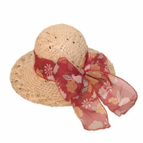 Ladies Girls Wide Brim Straw Summer Sun Hat with Scarf Trim