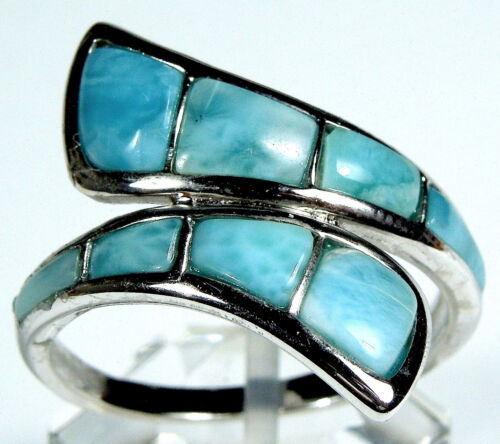 Véritable Aaa Dominicaine Larimar Inlay 925 Sterling Silver Ring Taille 6-8.5
