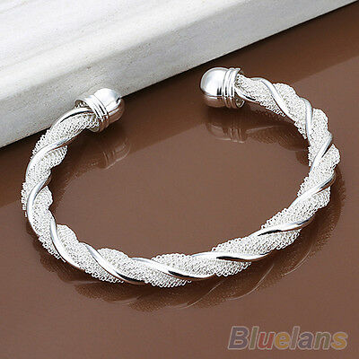 Women's Fashion Simple Silver Plated Twist Cuff Bangle Open Bracelet Grail