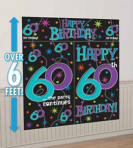 Image Is Loading HAPPY 60th BIRTHDAY Scene Setter Party Wall Decoration
