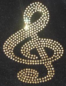 MUSIC-NOTE-CLEF-gold-Motif-iron-on-hotfix-rhinestone-crystal-diamante-transfer