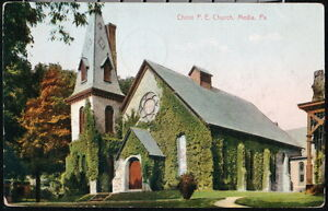 MEDIA-PA-Christ-P-E-Episcopal-Church-Antique-1907-Postcard-Early-Vtg-Town-View