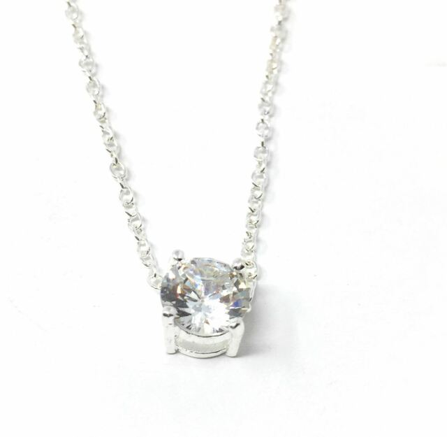 925 silver plt small single clear crystal pendant necklace chain 925 silver plt small single clear crystal pendant necklace chain ladies bae a aloadofball Gallery