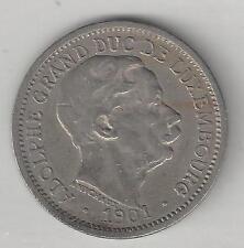 LUXEMBOURG, 1901, 10 CENTIMES, COPPER-NICKEL, KM#25, VERY FINE-EXTRA FINE (02)