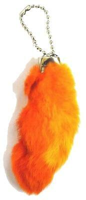 2 ORANGE COLORED RABBIT FOOT KEY CHIANS novelty bunny fur hair feet ball chain